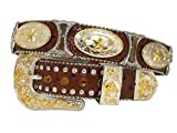 New Mens Western Cowboy Cowgirl Gold Star Silver Hourglass Concho Longhorn Shiny Leather Belt
