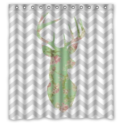 Home&Family 66 x 72 Stylish Lovely Floral Deer Head in Gray and White Chevron Bathroom Shower Curtain , Polyester