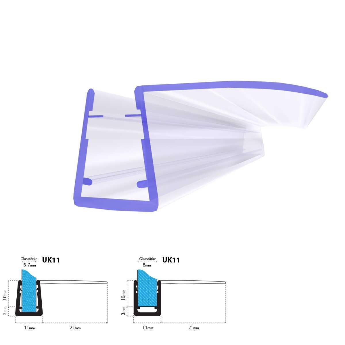 160cm UK11 - Junta de recambio para ducha deflector de 5mm/ 6mm/ 7mm/ 8mm vidrio grueso agua sello ducha de protecció n de sobretensió n recta STEIGNER