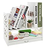 Home-Neat 2-Tier DIY Book shelf WPC Desktop Organizer White Storage Rack for Home Kitchen Office