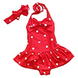 ilishop Little Girls' Bathing Suit 2pcs Swimsuit Halter Neck Swimwear
