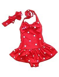 ilishop Little Girls' Bathing Suit 2pcs Swimsuit Halter Neck Swimwear