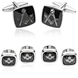 Cuff-Daddy Masonic Formal Cuff Links and Studs Set Silver Tone with Presentation Box