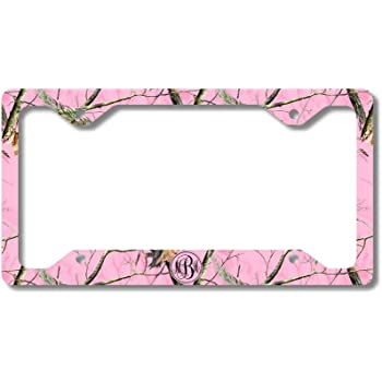 Powered By Mustache License Plate Frame Tag Holder