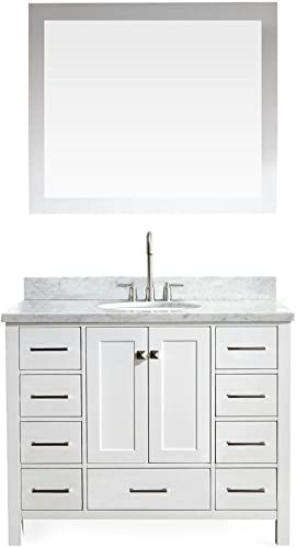 ARIEL Cambridge A043S-WHT 43″ Inch Single Oval Sink Solid Wood White Bathroom Vanity
