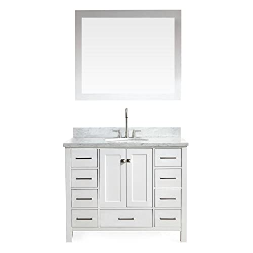 ARIEL Cambridge A043S-WHT 43 Inch Single Oval Sink Solid Wood White Bathroom Vanity with 1.5 Inch Edge Carrara Marble Countertop