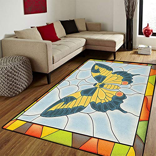 Butterflies,Door Mats for Home,Butterfly in Stained-Glass Window with Frame Wing Spring Garden Illustration,Floor mat Bath Mat for tub,Multicolor,6x7 ft