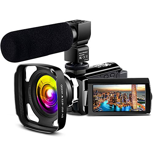 4K Camcorder Vlogging Video Camera Ultra HD 60FPS Digital Recorder YouTube Camera WiFi IR Night Vision 3.0″ IPS Touch Screen with Microphone, Wide Angle Lens, Lens Hood, 2 Batteries