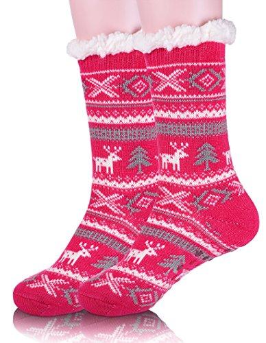 85b7293c Ebmore Kvinners Jule Fuzzy Varme Vinteren Hjort Fleece Tøffel Mannskap  Sokker Rose Rød