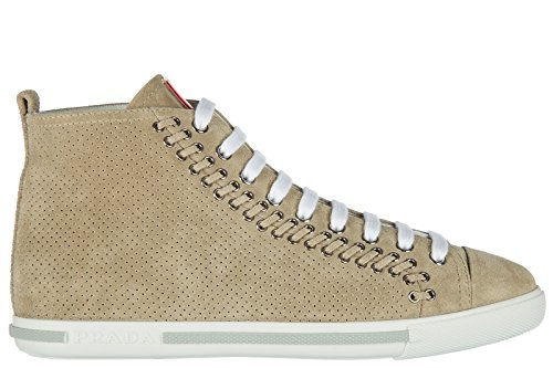 Prada Women's Shoes High Top Suede Trainers Sneakers Beige US Size 8.5 33T5848054F0036 (Prada Leather Suede)
