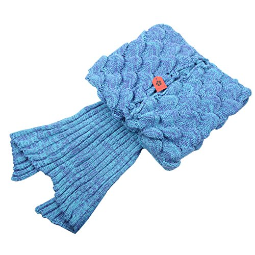 Sun Cling Handmade Soft Crochet Mermaid Blankets Blue Knitted Pattern Seasons Sleeping Blankets Adult for Women,Girls,Teens