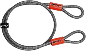 BV 2.5FT, 4FT, 7FT Security Steel Cable, Double Looped Braided Steel Flex Lock Cable for U-Lock, Padlock, and Disc Lock
