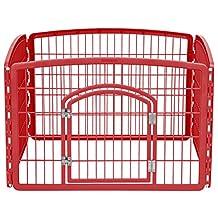 IRIS 24'' Exercise 4-Panel Pet Playpen with Door, Red