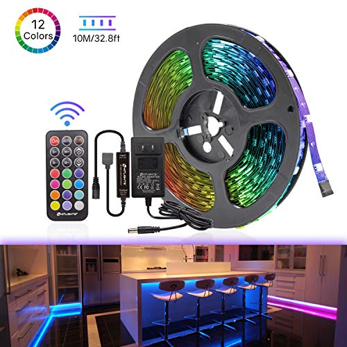 - LED Strip Lights, HitLights Color Changing Rope Lights 32.8ft SMD 5050 Flexible RGB Light Strips with RF Remote, UL Power Supply for Under Cabinet Lighting Kitchen Bedroom Home Decoration