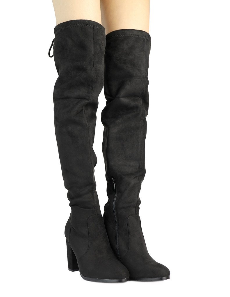 DREAM PAIRS Women's New Shoo Black Over The Knee High Heel Boots Size 8.5 B(M) US by DREAM PAIRS