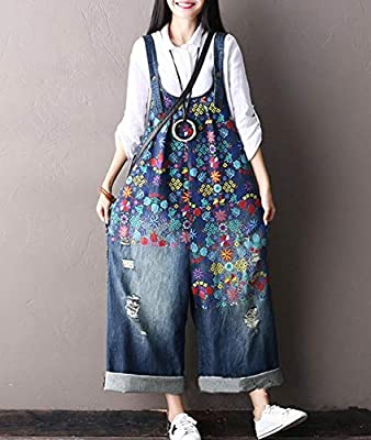 YESNO PF1 Women Casual Loose Jeans Denim Jumpsuits Floral Printed Rompers Ripped Holes Wide Leg Pockets