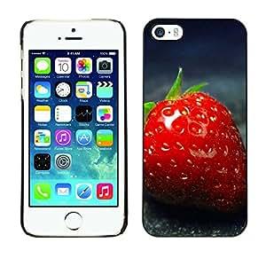 Cubierta de la caja de protección la piel dura para el Apple iPhone 5 / 5S - strawberry red close up summer fruit