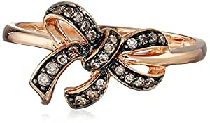 10k Rose Gold Brown Diamond Bow Ring ( .14 cttw, H-I Color, I2-I3 Clarity), Size 8