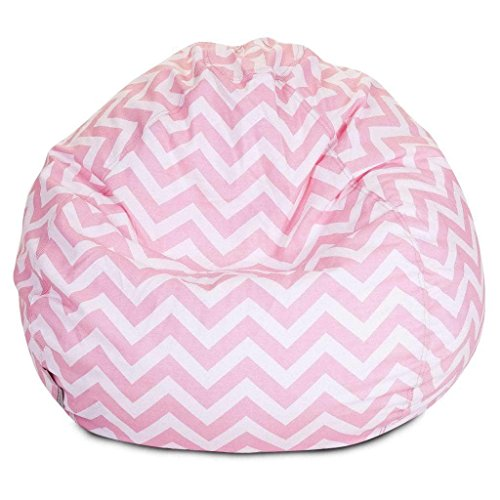 Majestic Home Goods Classic Bean Bag Chair - Chevron Giant Classic Bean Bags for Small Adults and Kids (28 x 28 x 22 Inches) (Baby (Cotton Twill Bean Bag)