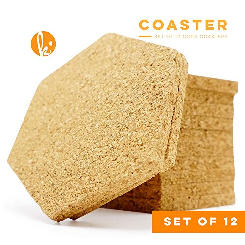 Cork Coaster Set of 12 - Keep Table Clear of Wine, Cappuccino, Beer or Other Drink Marks with Absorbent Coasters (Hexagon) -