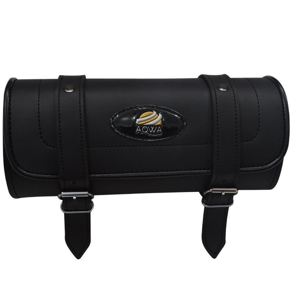 AQWA Leather Tool Roll Saddle Bag Motorcycle Motorbike Luggage Storage Black Aqwa Sports