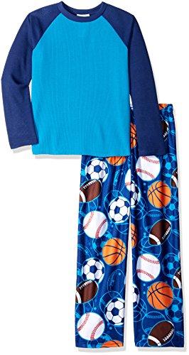 Komar Kids Boys' Big 2 Piece Thermal Pajama Set, Sports, X-Small