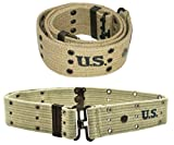 Ultimate Arms Gear Tactical Militaria U.S. Army Military GI USGI WW2 WWII Reproduction Khaki Tan M1936 Web Pistol Duty Belt For Gun Holster Mag Magazine Pouch & More Adjustable Size