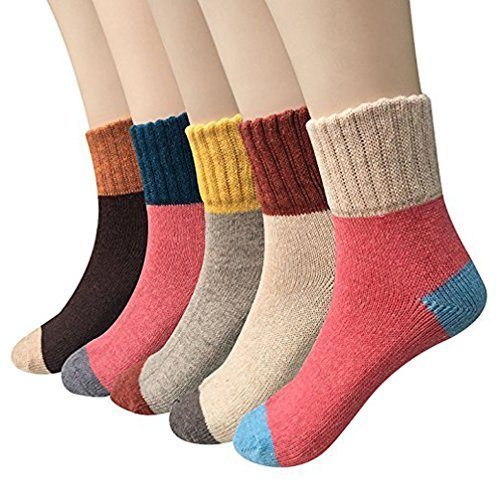 kunshang 5 Pairs Womens Vintage Style Winter Warm Thick Knit Wool Cozy Crew Socks from kunshang