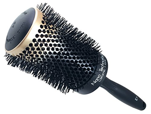 Round Ceramic Ionic Nano Technology XX-Large Hair Brush by Better Beauty Products, XXL/2.5 inch/65mm Barrel with Nylon Bristles, Professional Salon Brush, Black with Metallic Gold ()