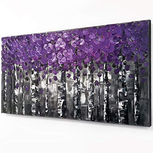 100% Hand Painted Purple Pink Leaves Forest Birch Trees Home Wall Decor Art Oil Paintings Wood Framed Contemporary Abstract Canvas Palette Knife Artwork Landscape 3D Hand-Painted Ready to Hang Gifts ()