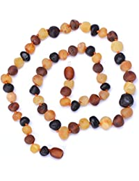 Baltic Amber Handmade Necklace for Adult - Certified Raw Amber Beads - Multicolored