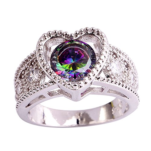 Psiroy 925 Sterling Silver Fashion Round Cut Rainbow Topaz Puzzle Filled Ring Band for Women (Gold Twin Octagon Ring)
