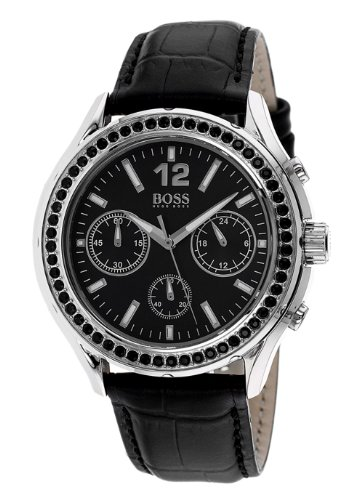 Hugo Boss Chronograph Black Dial Black Leather Ladies Watch 1502264