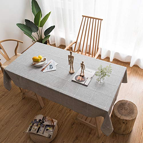 Cotton Linen Tablecloth Rectangle Stitching Tassel Dust-Proof Table Cover for Dining Kitchen Party Tabletop Decoration Oblong 53 x 83 Inch Pure Grey