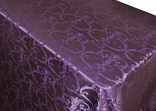 Wedding Linens Inc. 90 Inch x 156 Inch Rectangular Versailles Chopin Jacquard Damask Polyester Tablecloths Table Cover Linens for Restaurant Kitchen Dining Wedding Party Banquet Events - Eggplant (Damask Tablecloth Eggplant)