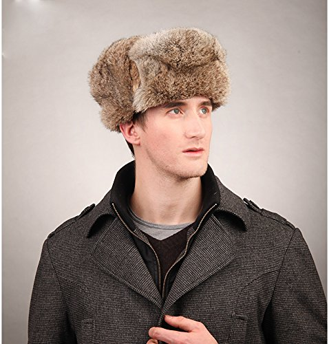 12e827c7e8 Men s Rabbit Full Fur Russian Ushanka Trooper Hats Multicolor (Brown) at  Amazon Men s Clothing store