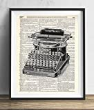 Vintage Typewriter Illustration (#1) Dictionary Art Print 8x10