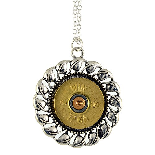 Shotgun Shell Pendant Necklace, 12 Gauge Bullet Casing with Silvertone Leaf Swirl Pendant, (Shell Swirl Necklace)