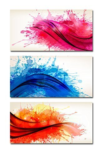 Collection of Colorful Abstract Watercolor Banners Vector Illustration Home Deoration Wall Decor ing x 3 Panels