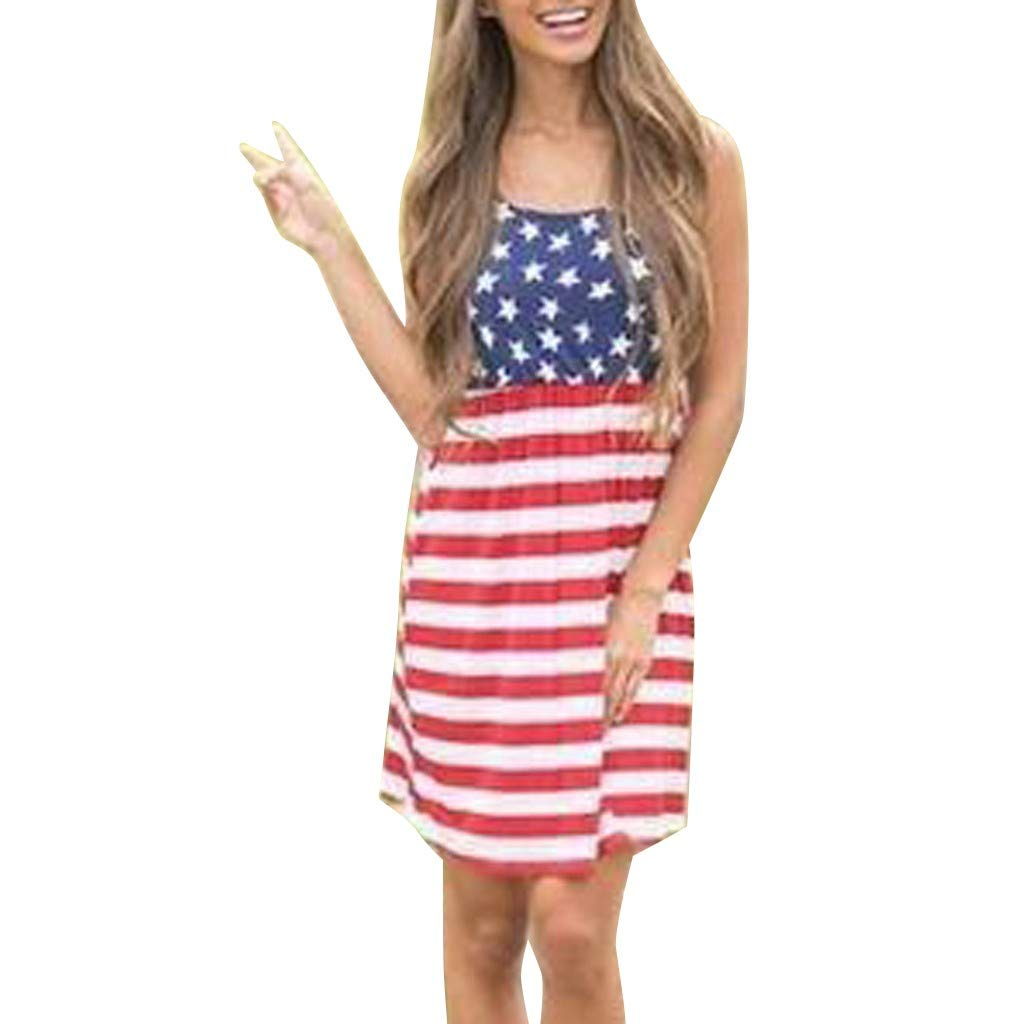 Botrong 4th of July Womens Casual Patriotic Striped Star American Flag Printed O Neck Midi Tank Dress