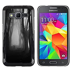 Caucho caso de Shell duro de la cubierta de accesorios de protección BY RAYDREAMMM - Samsung Galaxy Core Prime SM-G360 - Fog Forest Dark Black White