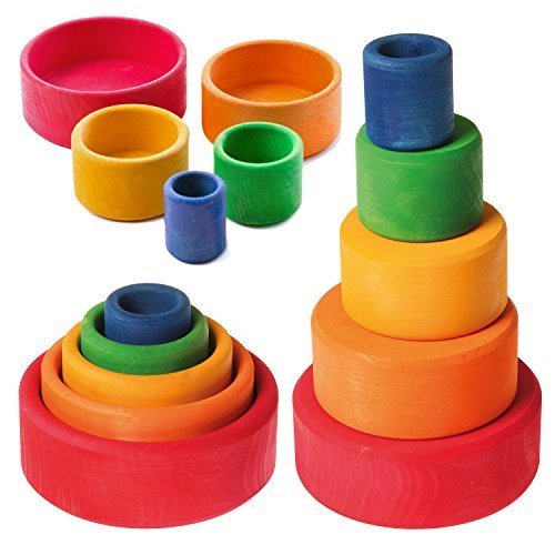Grimm's Set of 5 Small Wooden Stacking & Nesting Rainbow Bowls, Red (4 Stacking Bowls)