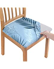smiry Printed Dining Chair Seat Covers - Stretchy Removable Washable Upholstered Chair Seat Slipcover Protector (Set of 6, Blue)