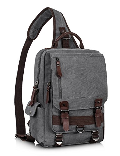 Leaper Canvas Messenger Bag Sling Bag Cross Body Bag Shoulder Bag Gray, L