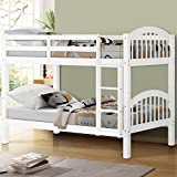 Solid Wood Twin Over Twin Bunk Bed White Support Up to 300 Lbs Kids Safety Wooden Bunk Beds