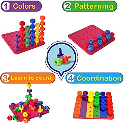 Stacking Peg Board Toy Set | Jumbo Pack | Montessori Occupational Therapy Fine Motor Skills for Toddlers and Preschooler, 60 Pegs & Board | 3 Free Bonuses, 6 Stacking Cups, Colorful Board, Carry Bag: Toys & Games
