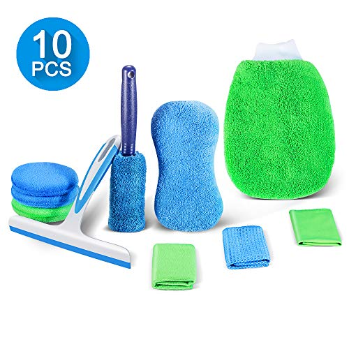 Motorcycle Detailing Cleaning Kit -10 PCS Car Washing Cleaning Kit, Including Window Squeegee,Wheel Brush,Wash Mitt,Wash Sponge,Cleaning Cloth3, Polish Application Pads3. Very Practical Car Wash Set