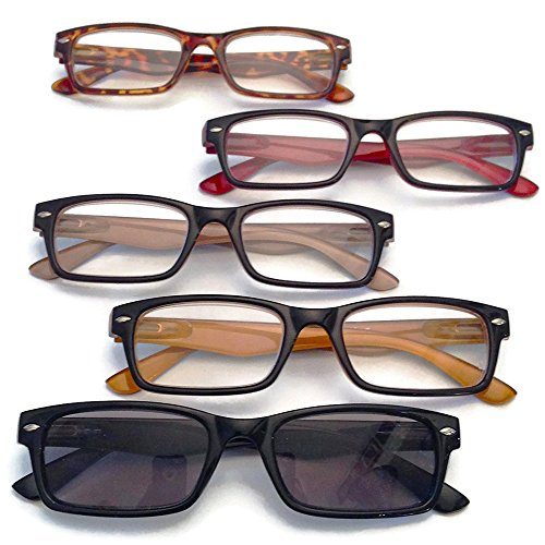 Prescription Reading Glasses- 5 pairs- (multicolored, +2.00)
