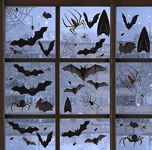 336 Pcs+ Halloween Window Clings 12 Sheets Decal Stickers Bat Spider Nonadhesive Self-static Halloween Party Decorations for Glass ()