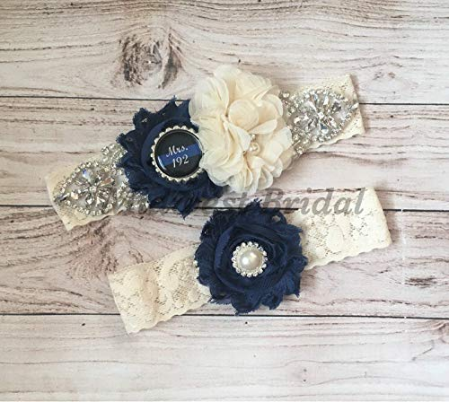 Rustic Police Officer's Wife Ivory Custom Badge number Ivory Lace Wedding Garter Police Sheriff Thin Blue Line by Midwest Bridal
